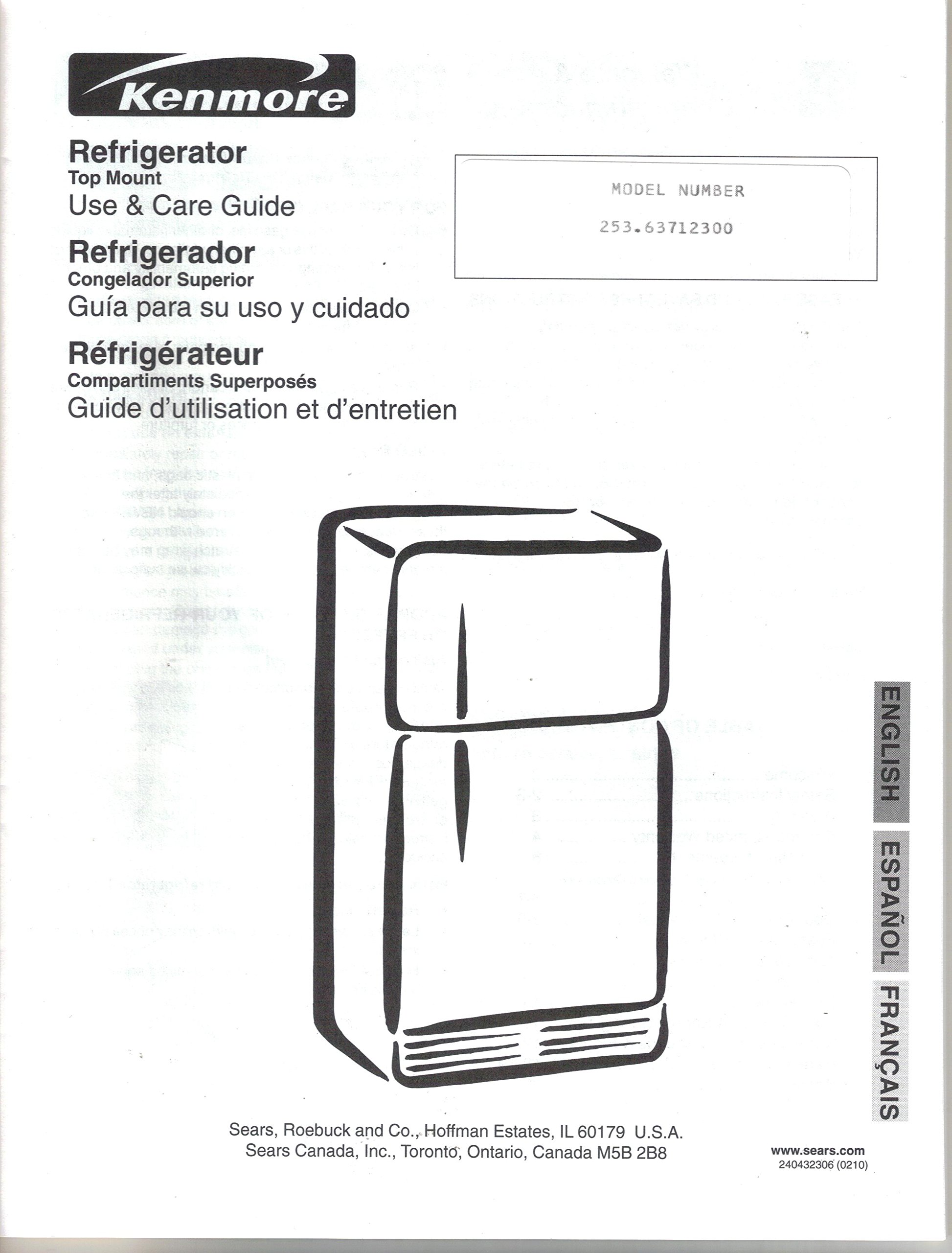 Sears Kenmore Refrigerator-Owners Manual Use Care Guide Instruction: Sears:  Amazon.com: Books