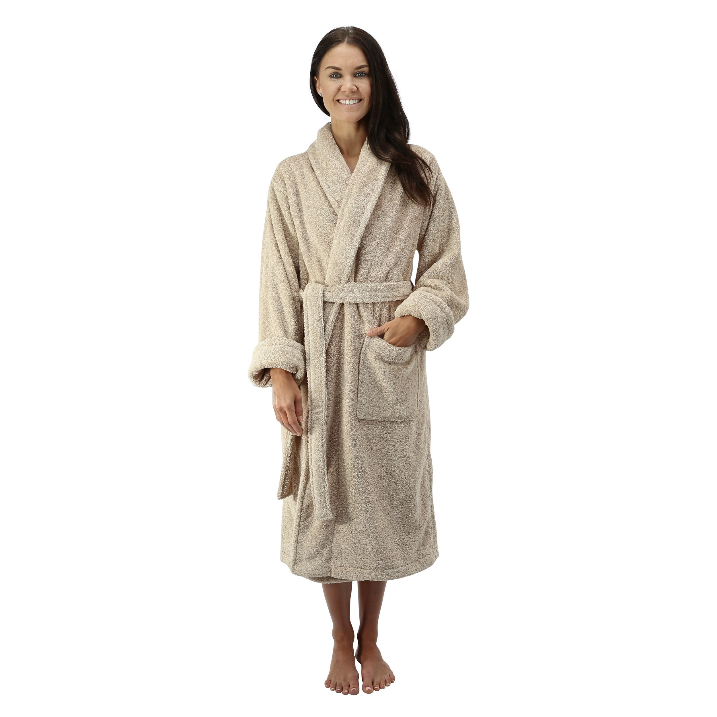 Comfy Robes Personalized Women's Deluxe 20 Oz. Turkish Terry Bathrobe, L/XL (OSFM) Beige by Comfy Robes