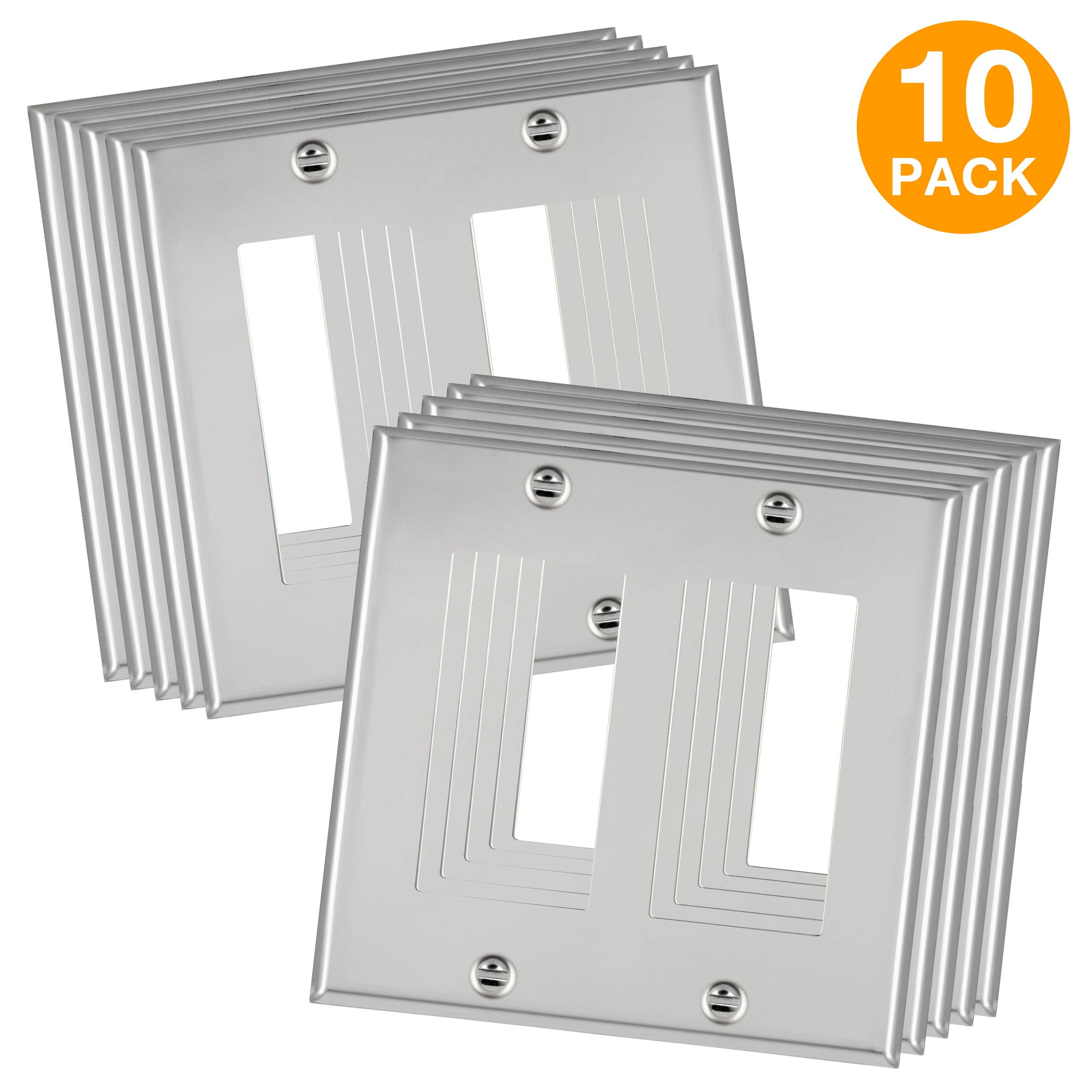 ENERLITES Metal Decorator Switch/Outlet Wall Plate, Corrosive Resistant, Size 2-Gang 4.50'' x 4.57'', 7732-PC-10PCS, 302 Polished Chrome (10 Pack)