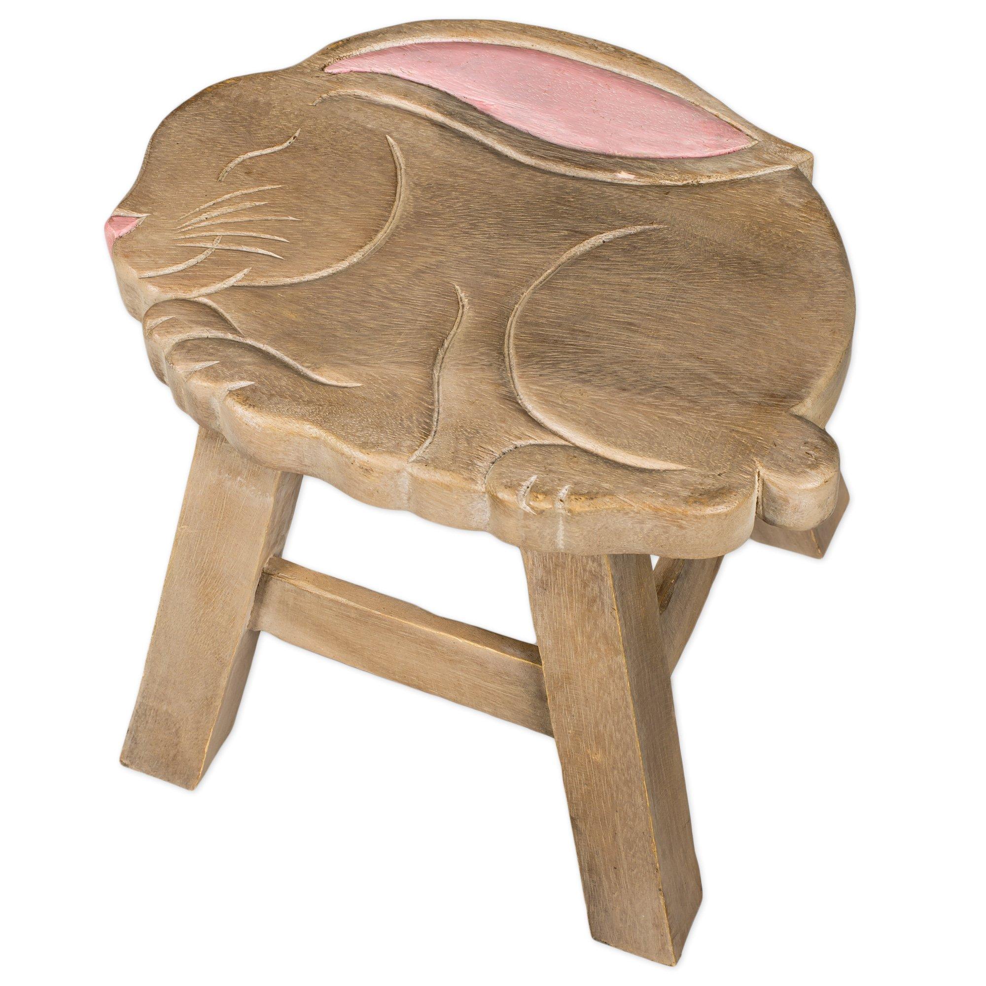 Bunny Design Hand Carved Acacia Hardwood Decorative Short Stool