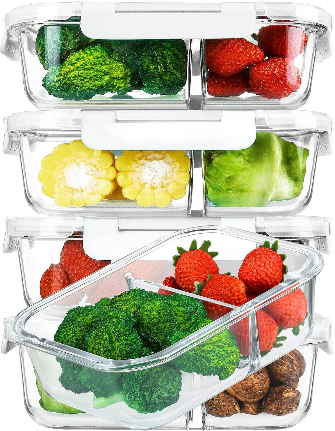 [5-Pack,36 Oz]Glass Meal Prep Containers 2 Compartments Portion Control with Upgraded Snap Locking Lids Glass Food Storage Containers, Microwave, Oven, Freezer and Dishwasher (4.5 Cups, White)