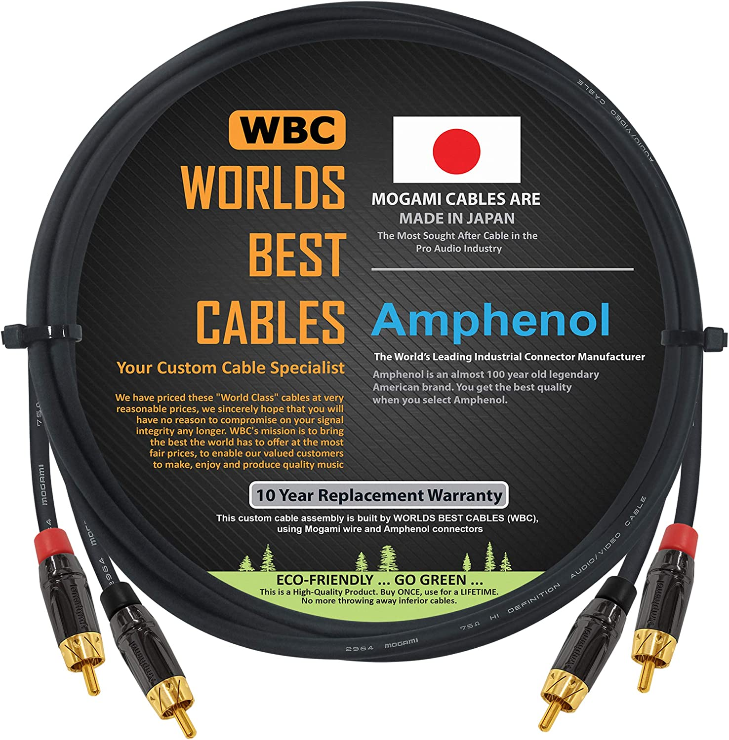 Gold Plated RCA Connectors Worlds Best Cables 5 Foot High-Definition Audio Interconnect Cable Pair Custom Made Using Mogami 2964 Wire and Amphenol ACPL Black Chrome Body
