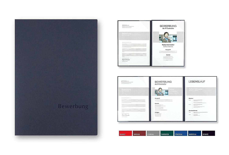 """5 Stück 4-teilige Bewerbungsmappen BL-exclusivdruck® MEGA-plus in  Marineblau // Klassische Premium-Qualität mit edler Relief-Prägung""""Bewerbung""""  ..."""