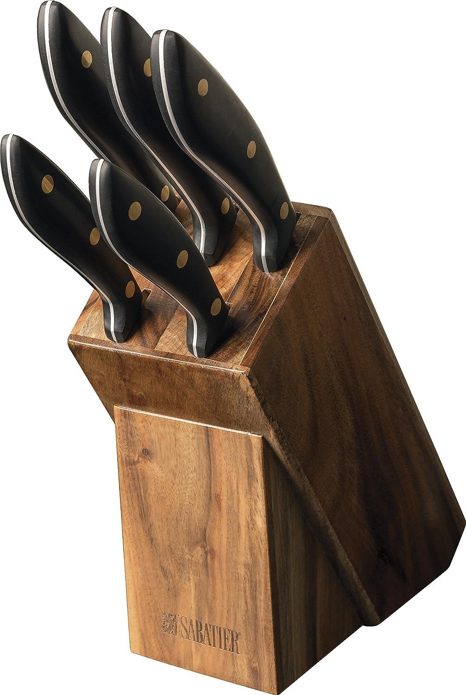 Original Sabatier Messerblock, 5-teiliges Set aus deutschem Hartstahl in schickem Akazienholz-Block