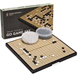 Magnetic Go Game Set with Single Convex Plastic Stones and Go Board, 14.7 x 14.6 Inches