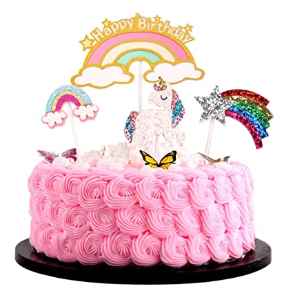 Cool Rainbow Birthday Rainbow Cake Topper Rainbow Rainbow Cupcake Funny Birthday Cards Online Alyptdamsfinfo