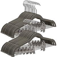 Songmics CRF12V-30 Kleerhangers, 30 stuks, fluweel met brug en clips, dun, antislip, ruimtebesparend, 360 draaibare haak…