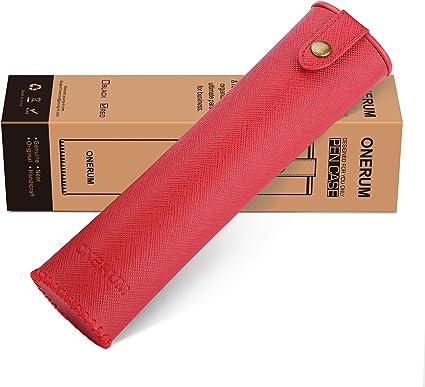 ONERUM - Estuche de piel auténtica para bolígrafos, bolígrafos, bolígrafos, regla, cosméticos, bolsa de viaje para lápiz labial, delineador de ojos, lápiz de maquillaje, color rojo: Amazon.es: Oficina y papelería