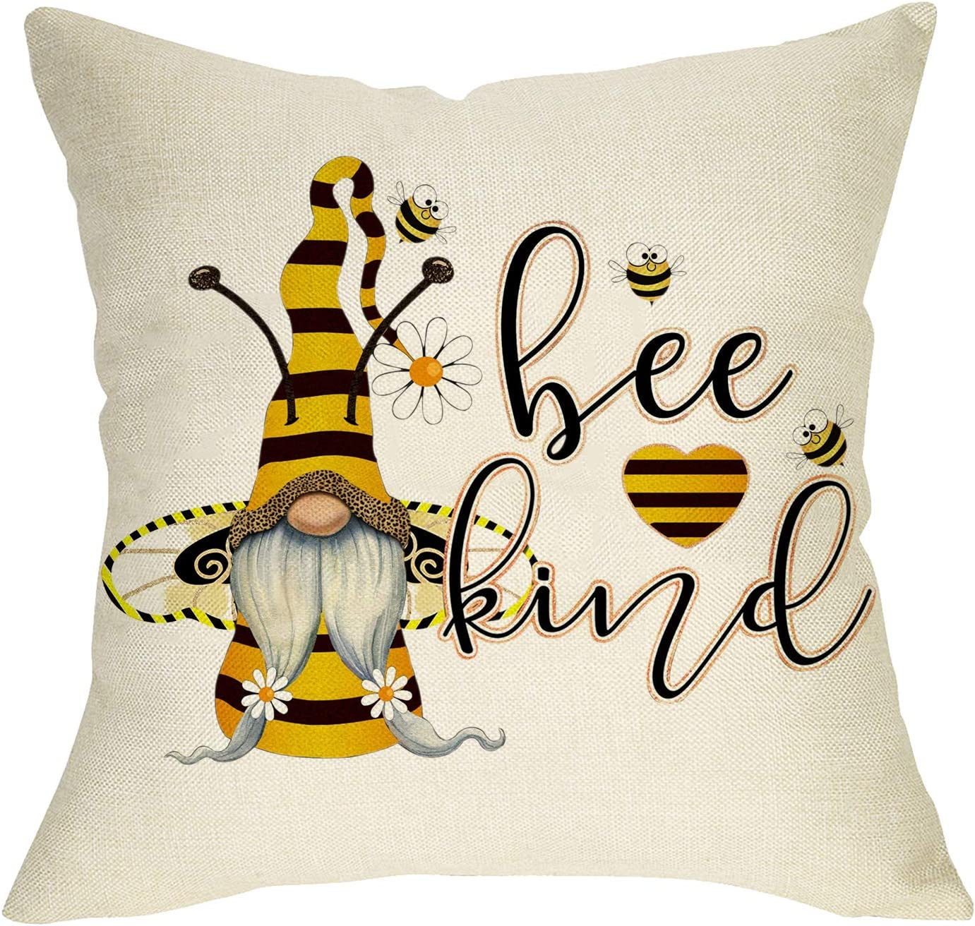 Softxpp Spring Summer Gnome Decorative Throw Pillow Cover, Daisy Heart Cushion Case Bee Kind Sign Seasonal Home Decorations, Cotton Linen Square Outside Pillowcase Decor for Sofa Couch 18 x 18