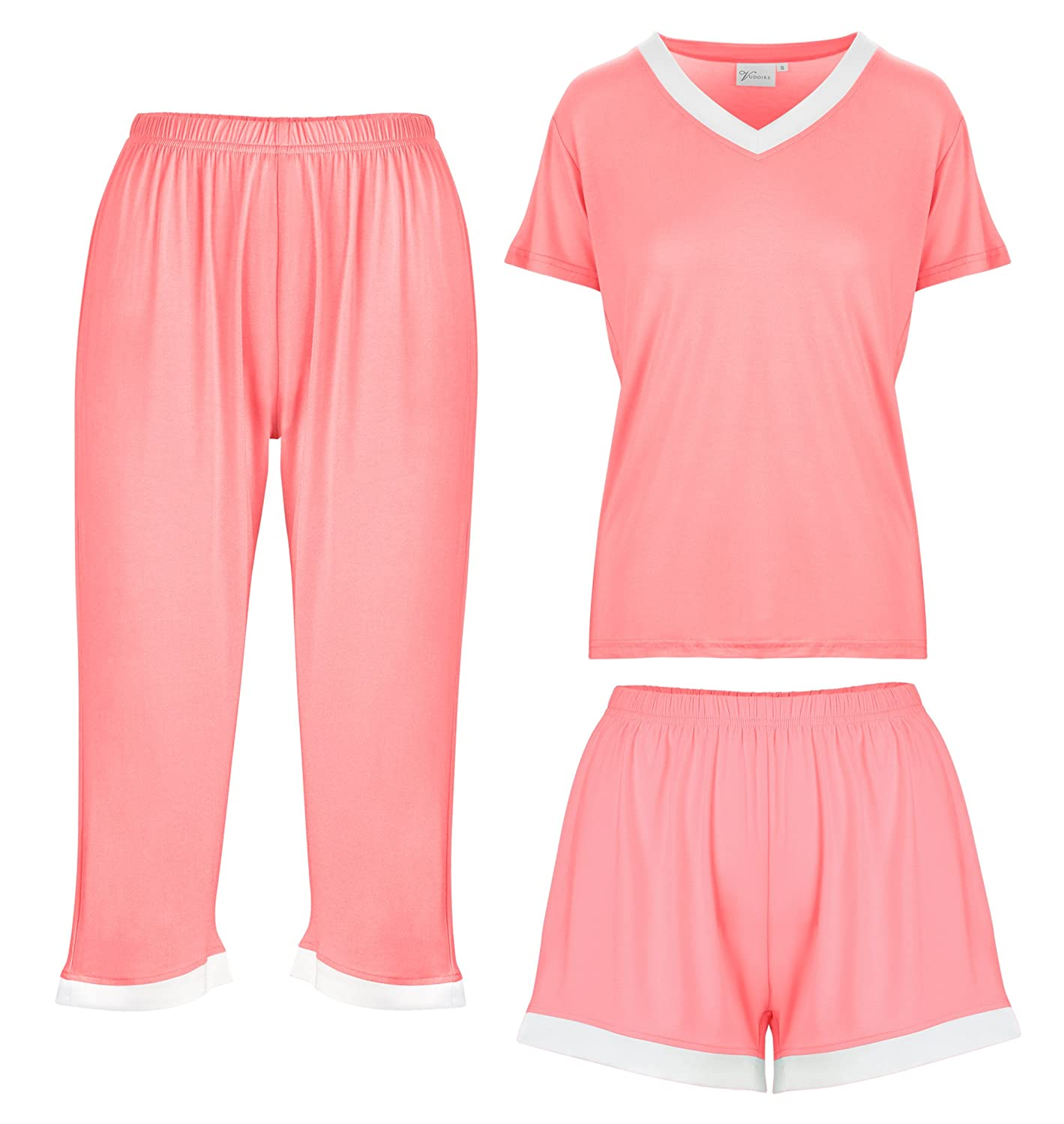 Bamboo Women's Pajamas Sleepwear 3 Piece Set: Capri Pajama Pants Loungewear Shorts & Top Ultra Soft and Comfortable