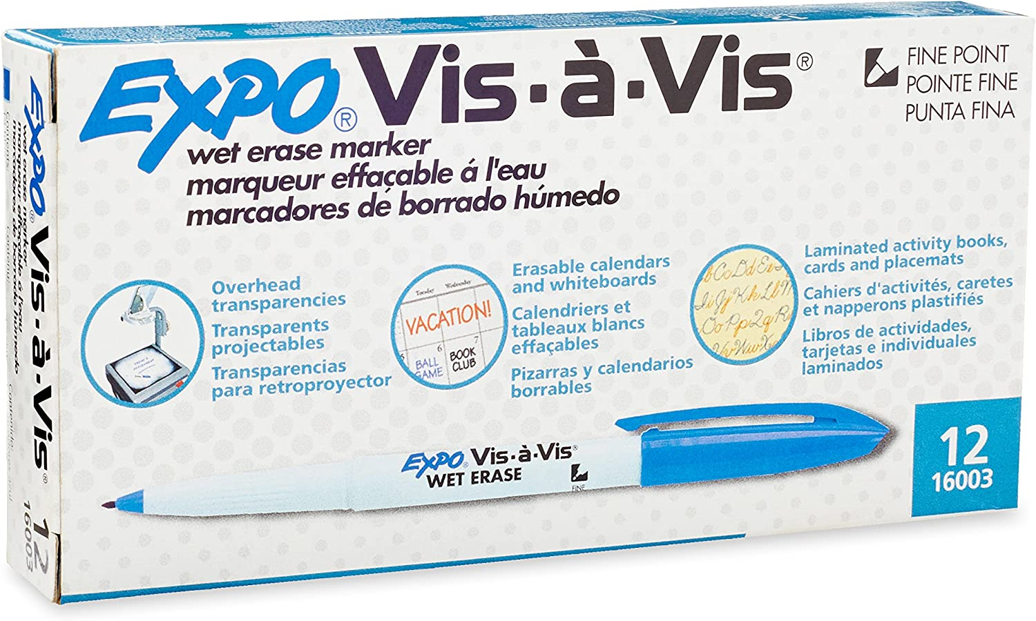 Blue In Fine Marker Point Type Inc Expo Vis160;-vis Wet Erase Overhead Transparency Marker Newell Rubbermaid