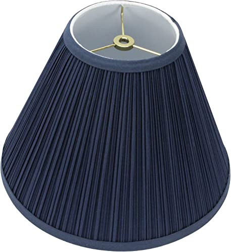 FenchelShades.com Lampshade 5 Top Diameter x 12 Bottom Diameter x 9 Slant Height with Washer Spider Attachment for Lamps with a Harp Pleated Navy Blue