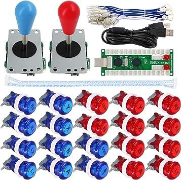 DIY Arcade Joystick Kit 5Pin Joystick Cable 24//30mm Buttons USB Encoder US Stock