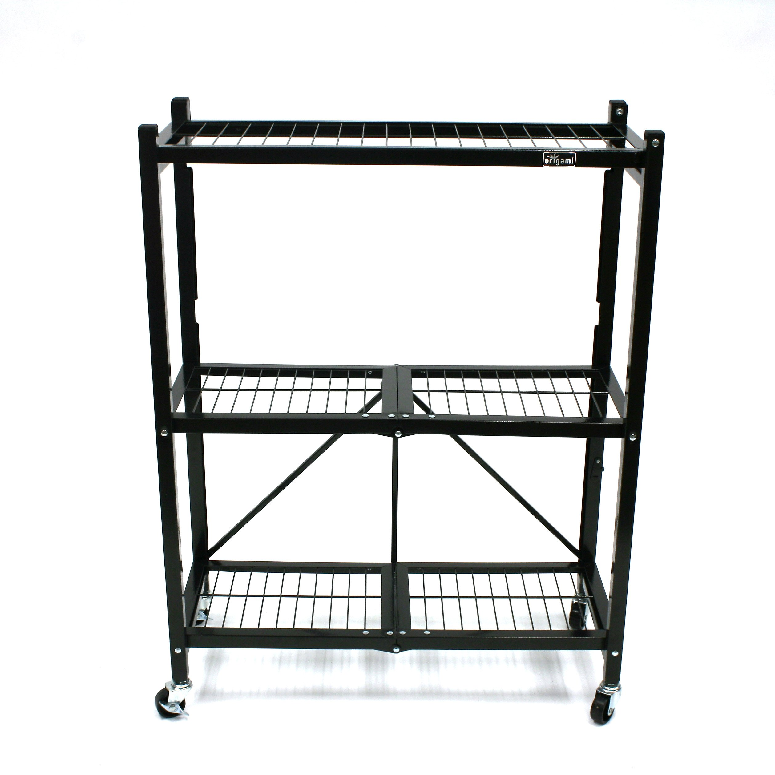 Origami R32-06W Shelf with 2-Inch Wheel, Black, 2-Pack