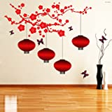 Creatick Studio ''Chinese Lamps in Double Sheet' Wall Sticker (PVC Vinyl, 175 cm X 70 cm) B019T1Cb2K