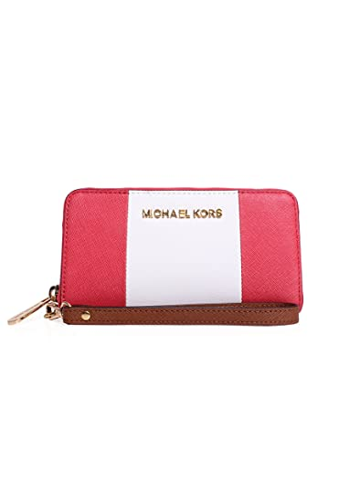 cee8fef6b598 Image Unavailable. Image not available for. Color: Michael Kors Jet Set  Travel Center Stripe Large Multifunction Phone Wristlet ...