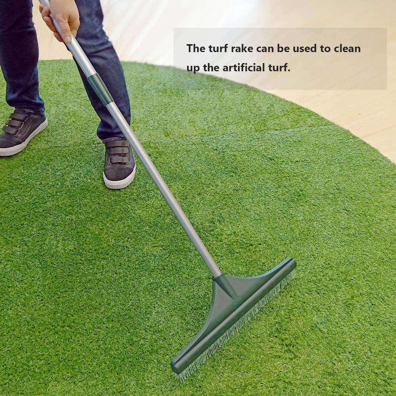 ORIENTOOLS Turf Rake, Ergonomic Adjustable Lightweight Steel Handle, Plastic Head PA brush, 32 to 52 inches, Carpet Rake by ORIENTOOLS (Image #6)