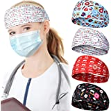 4 Pieces Face Covering Headbands for Women, Headbands with Buttons Nurses Bandanas for Ear Protector Head Wraps Elastic Hairb