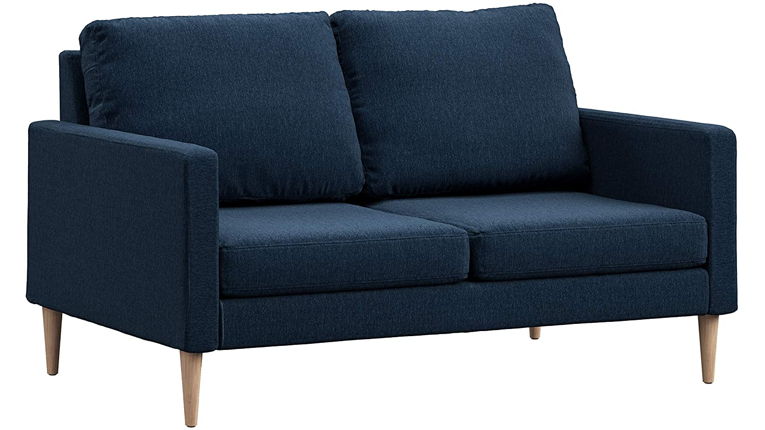 Campaign Steel Frame Brushed Weave Loveseat, 61 Inches, Midnight Navy with Solid Maple Legs