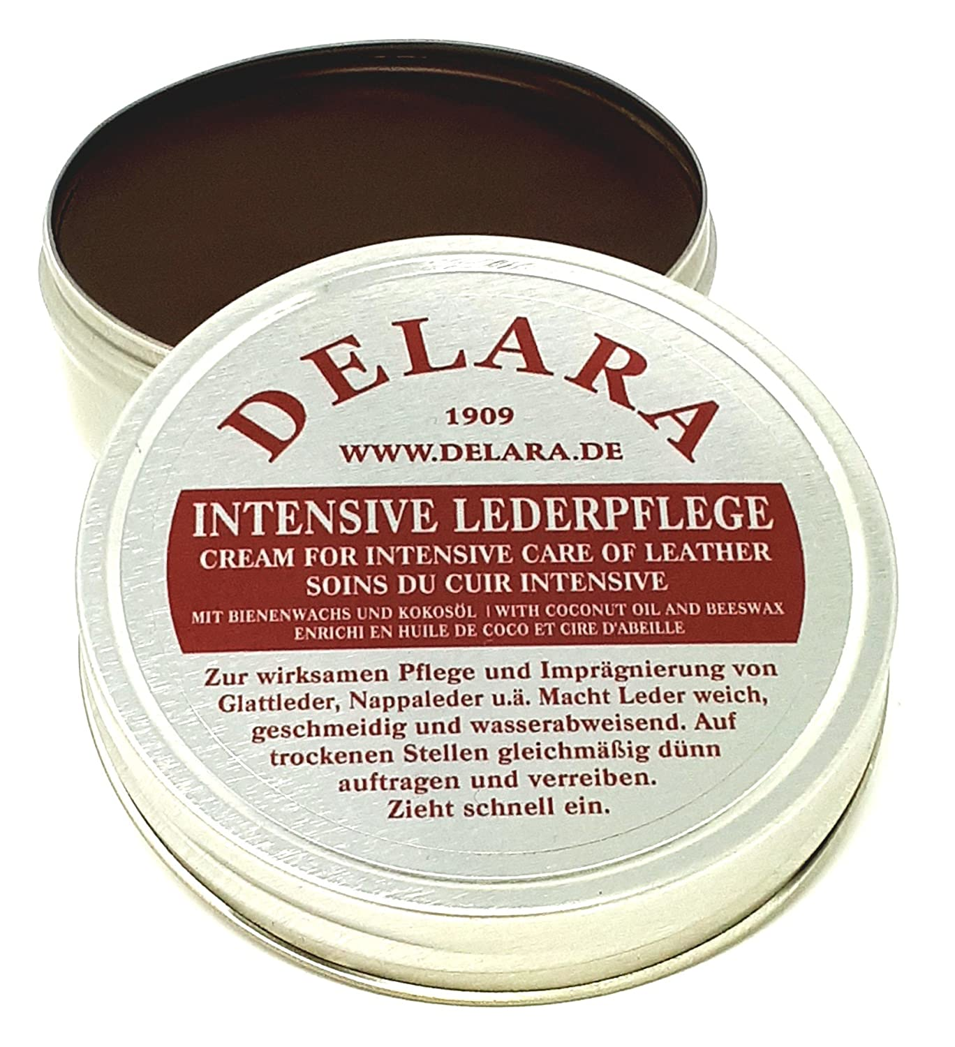 DELARA Intensive leather care – brown, 75 ml – Impregnates and protects leather very effectively, new formula coconut oil and beeswax 75 ml - Impregnates and protects leather very effectively 5301br