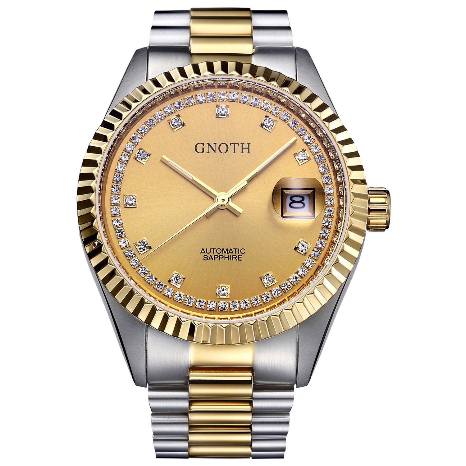 GNOTH Gold Luxury Date Japanese Business Mechanical Watch with Stainless Steel Band Wrist Watch for Men (date) by GNOTH