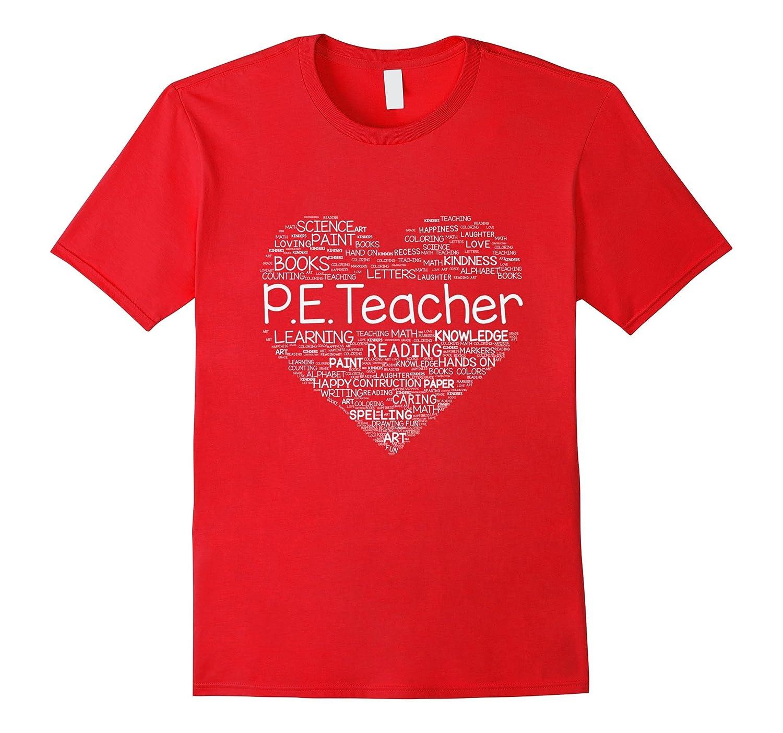 P E Teacher Heart T-shirt-FL