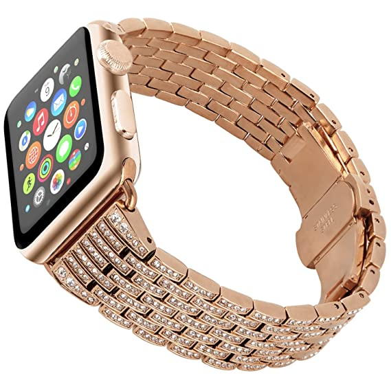 Tomazon Compatible Apple Watch Band, Stylish Crystal Rhinestone Diamond Stainless Steel Link iWatch Bracelet Strap with Folding Buckle for Apple Watch ...