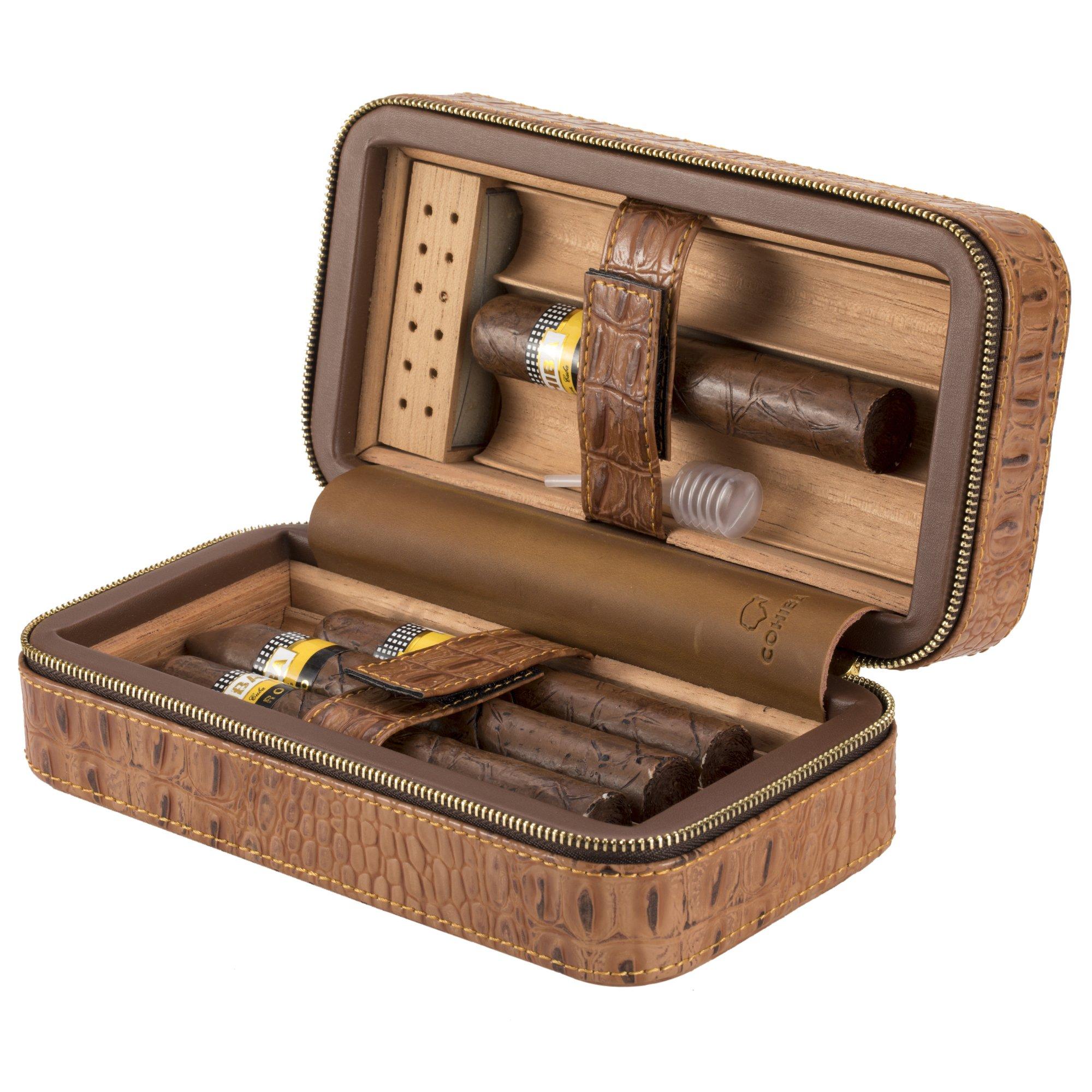 XIFEI portable crocodile grain cigar humidors Cedar wood travel cigar humidor for 6 cigar