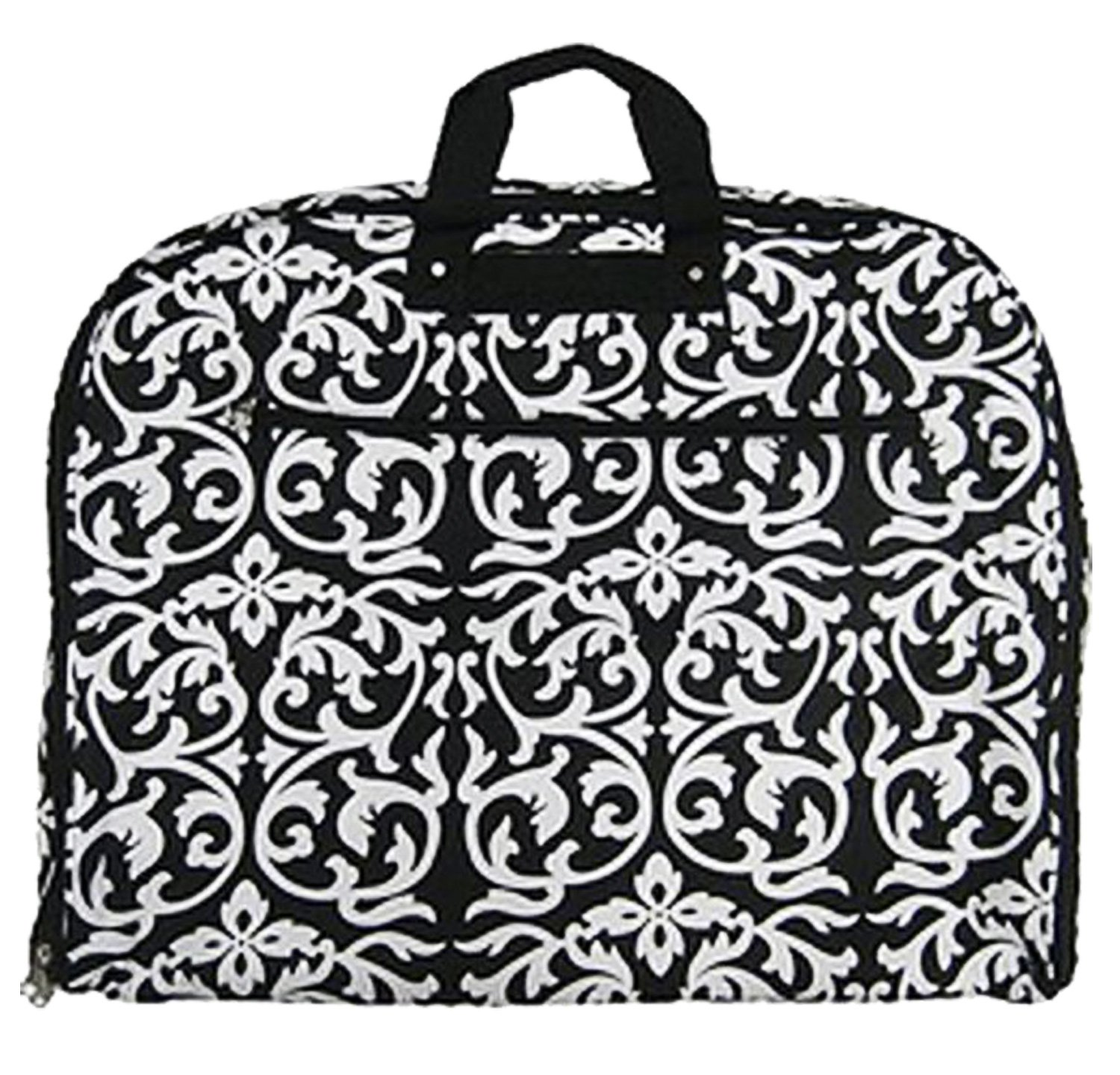 Fashionable Travel Garment Bags with Extended Hanger - Custom Embroidery Available (Black Damask)