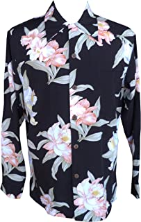 product image for Paradise Found Mens Orchid Corsage Kamehameha Style Long Sleeve Shirt Black L