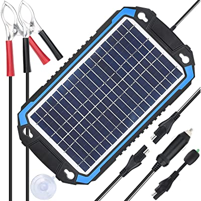 SUNER POWER 12V Solar Car Battery Charger & Maintainer - Portable 6W Solar Panel Trickle Charging Kit for Automotive, Motorcycle, Boat, Marine, RV, Trailer, Powersports, Snowmobile, etc.: Garden & Outdoor [5Bkhe1005477]