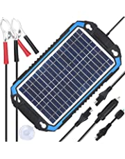 SUNER POWER 12V Solar Car Battery Charger & Maintainer - Portable 6W Solar Panel Trickle Charging Kit for Automotive, Motorcycle, Boat, Marine, RV, Trailer, Powersports, Snowmobile, etc.