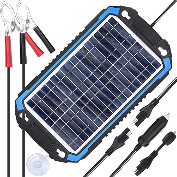 SUNER POWER Portable 6W Solar Panel Trickle Charging Kit for Automotive, RV, Trailer