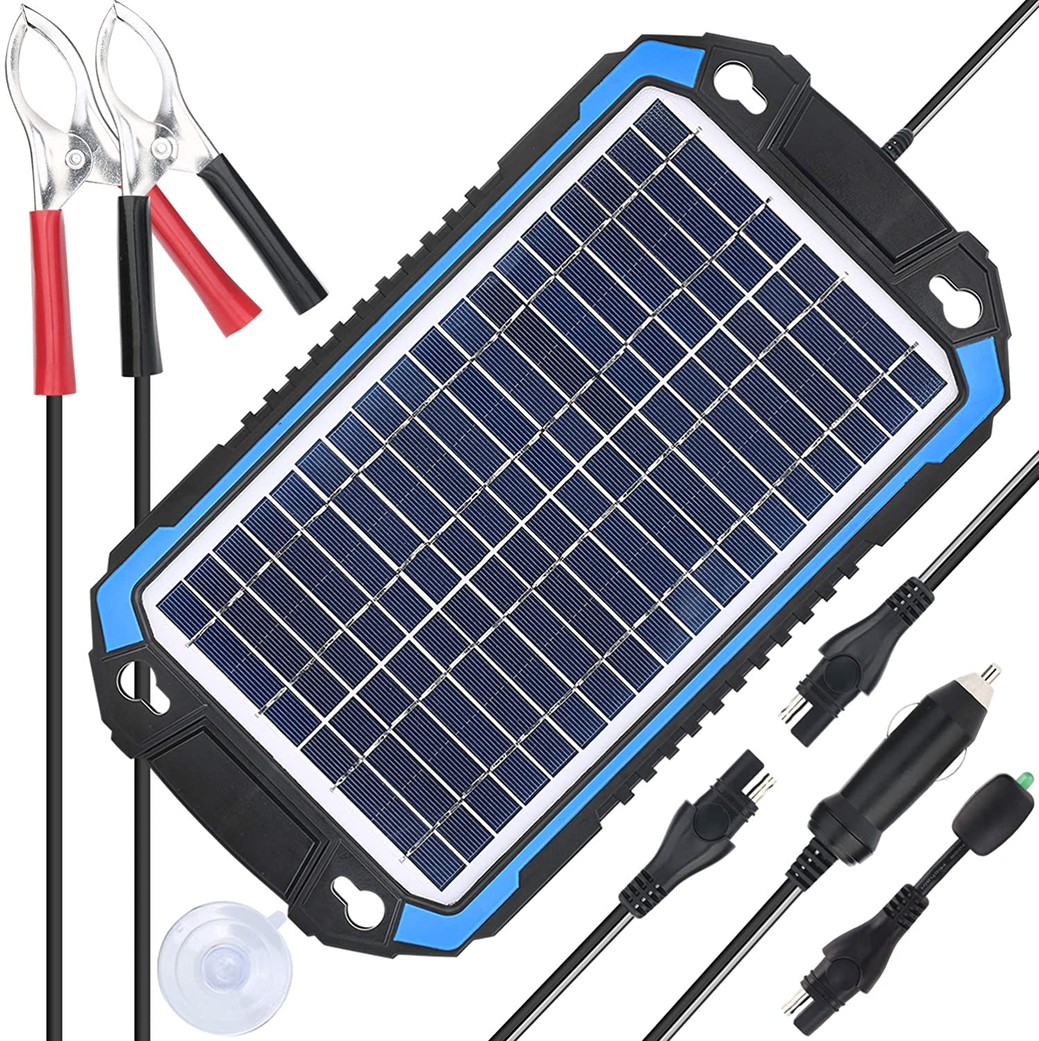 SUNER POWER 12V Solar Car Battery Charger & Maintainer - Portable 6W Solar Panel Trickle Charging Kit for Automotive, Motorcycle, Boat, Marine, RV, ...