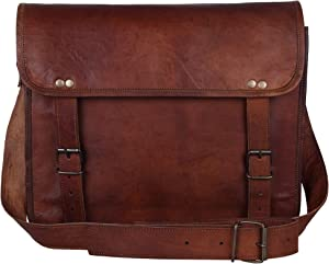 """13"""" Handmade Leather Messenger Bag Satchel Leather Laptop Bag By Rustic Town"""