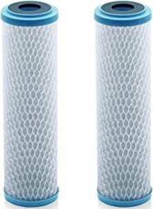 Lake Industries Universal KDF 55/Activated Carbon Water Filter Cartridge - 1 Micron - Replacement 10 inch CTO Water Purifier Filter, (NSF 42 Certified) (2)