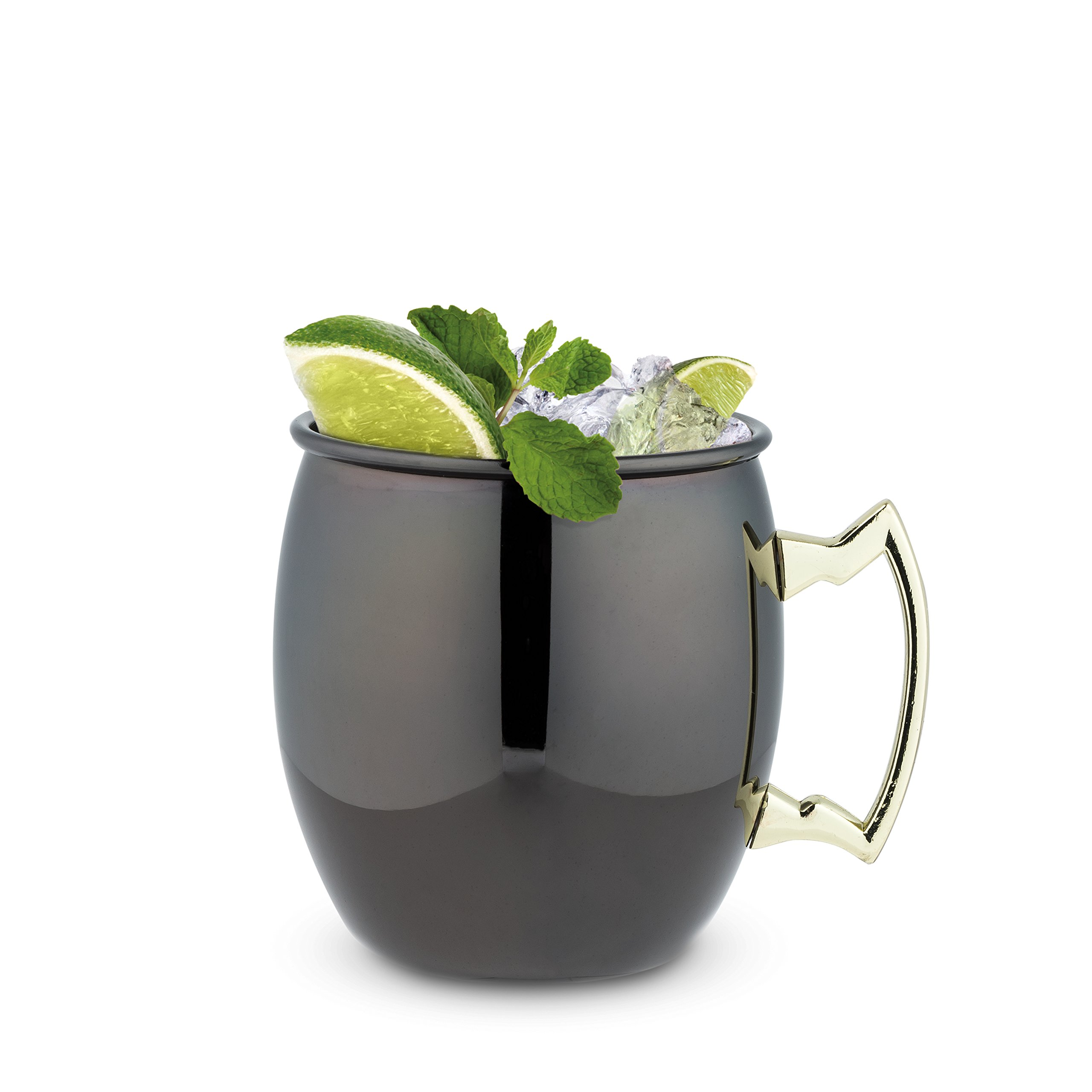 TRUE 7385 Black Mug with Gold Handle, 2 Pack Moscow Mule, One Size,
