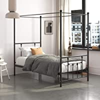 DHP Manila Metal Canopy, Twin Size Frame, Black Bed