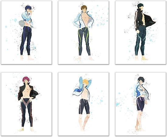 Watercolor Free Iwatobi Swim Club Prints Set Of 6 8x10 Glossy Anime Wall Art Decor I will say eyes involuntarily to manly muscles and supple body. watercolor free iwatobi swim club prints set of 6 8x10 glossy anime wall art decor haruka nanase haru makoto tachibana rin matsuoka