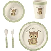 Precious Moments 182432 5 Owl Gift Mealtime Feeding Set, One Size