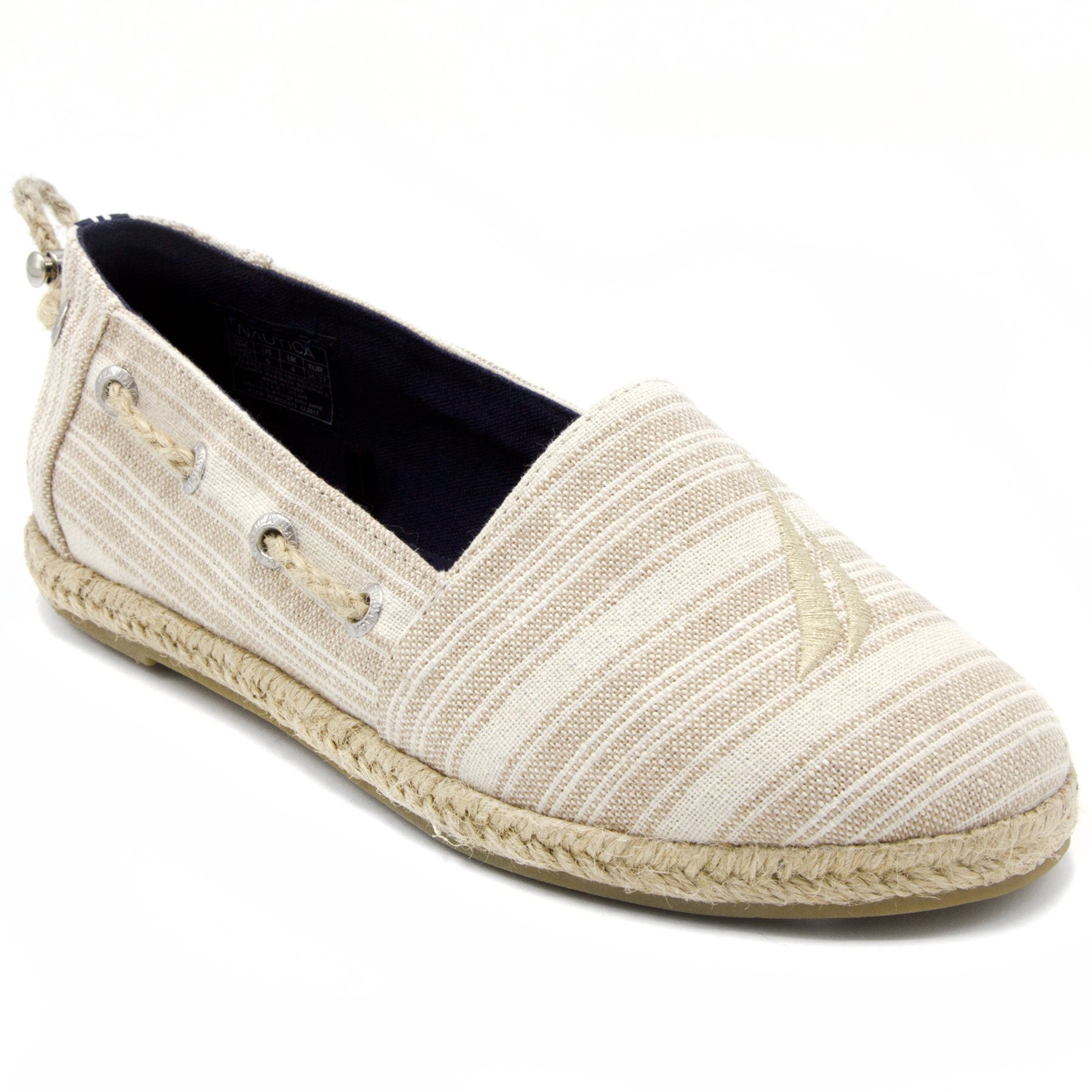 Nautica Women's Rudder J Class Espadrille Flat, Canvas Casual Slip-On Shoe with Rope Stitching Oyster Stripe-6