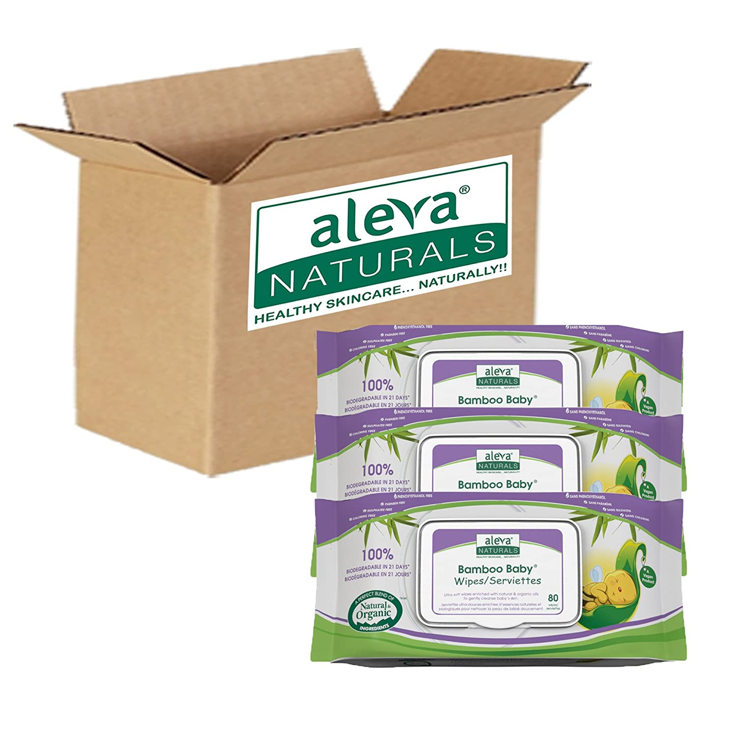 Aleva Naturals Bamboo Baby Wipes 240-Count (Pack of 4) 37943