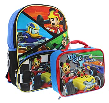 3ca2b9b2a2b Mickey Mouse 16 inch Backpack and Lunch Box Set (Let s Roll Black Multi)