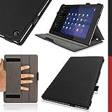"""igadgitz Schwarz PU Ledertasche Hülle Flip Case Cover für Sony Xperia Z2 10.1"""" Tablet SGP-511 mit Handschlaufe + Auto Sleep/Wake + Multi Winkelbetrachtung Stand + Displayschutzfolie"""