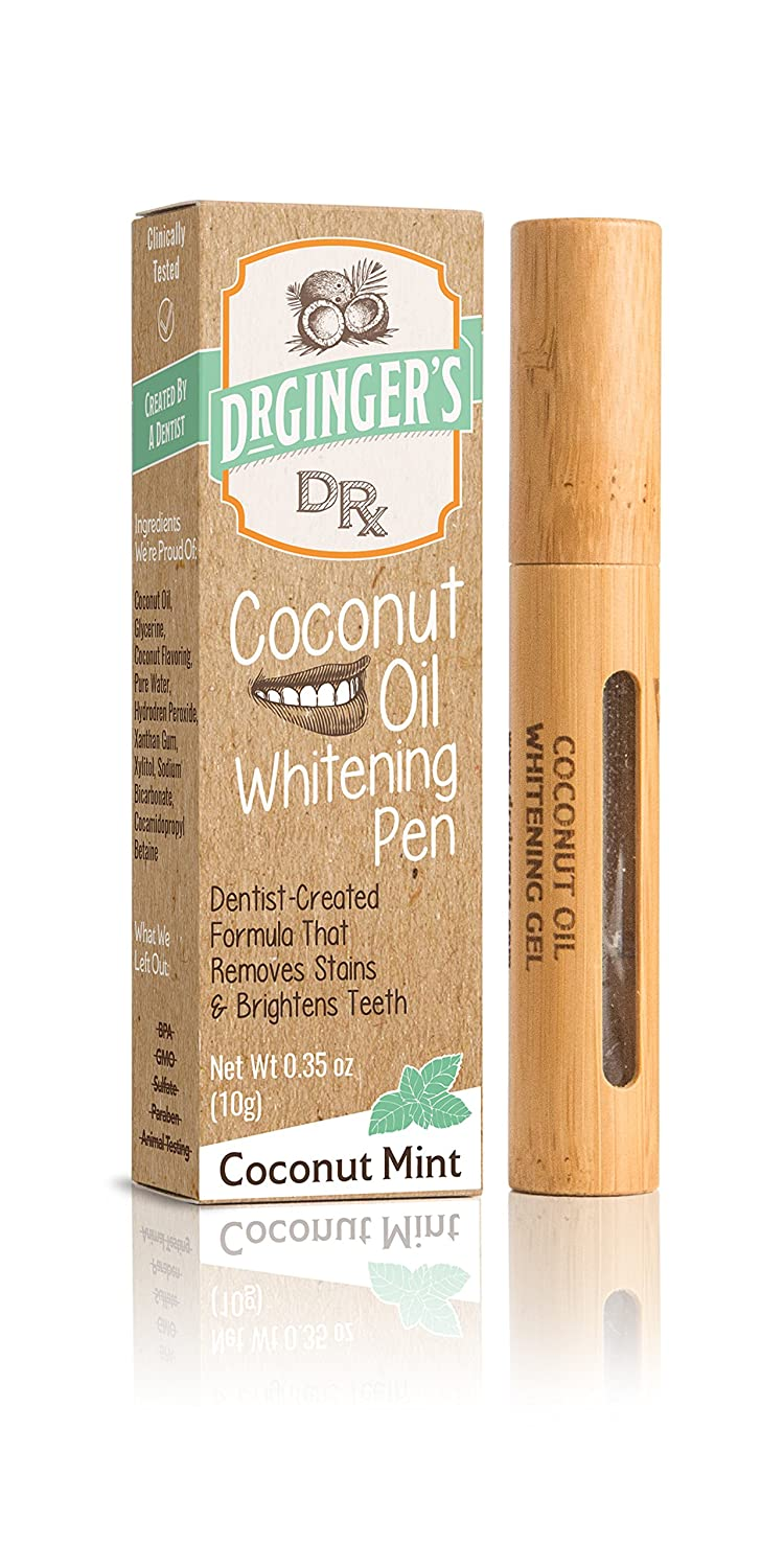 Dr. Ginger's Coconut Oil Tooth Whitening Pen, 0.35 oz, 1 Count - Coconut Mint Flavor