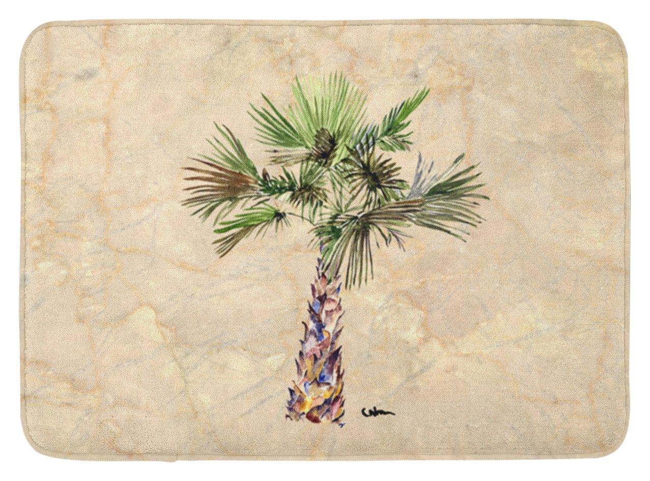 Multicolor Carolines Treasures 8480RUG Palm Tree Machine Washable Memory Foam Mat 19 X 27
