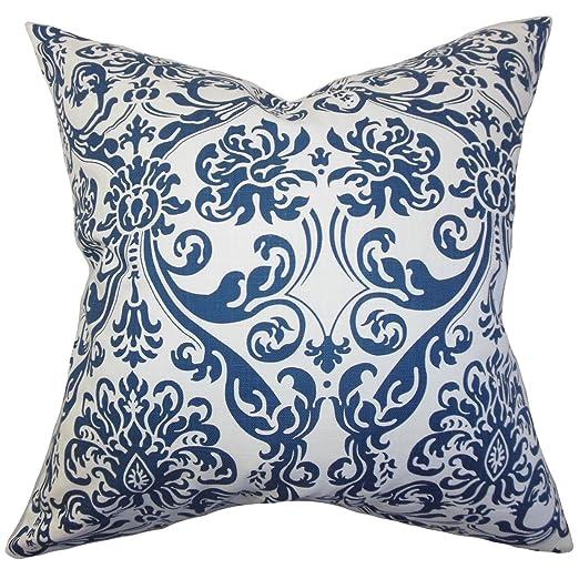 La Almohada Collection Saskia Damask Funda para cojín Azul ...