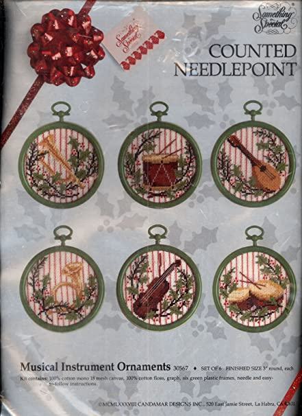 """Candamar Designs Counted Needlepoint Kit """"Musical Instruments  Ornaments"""" Set Of 6- Round - Amazon.com: Candamar Designs Counted Needlepoint Kit"""