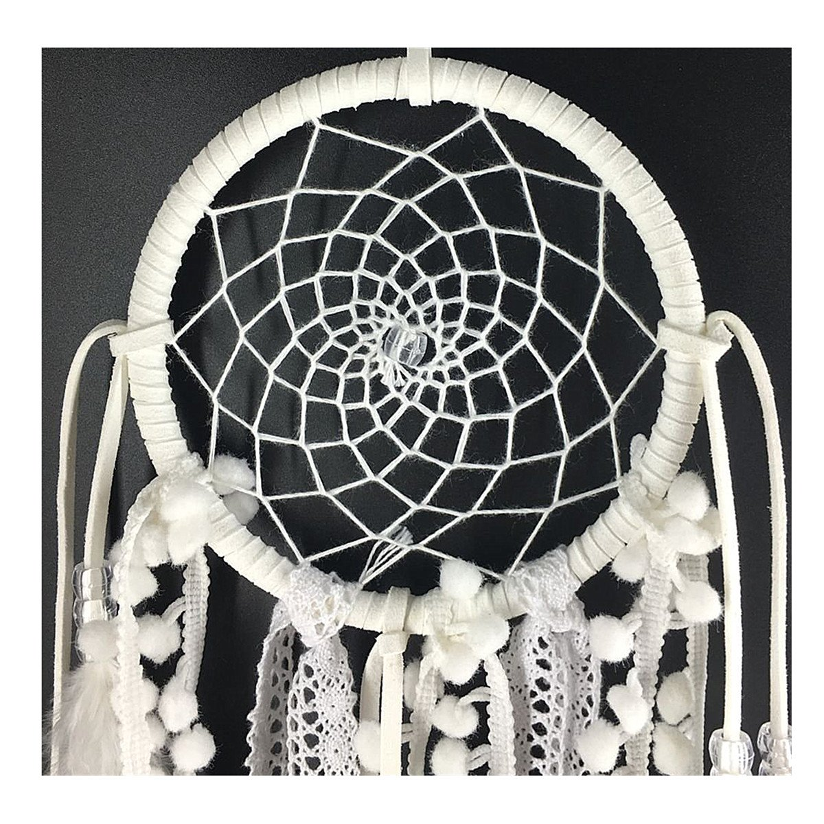 Dremisland Dream catcher handmade traditional white feather dream catcher wall hanging car hanging decoration ornament gift Dia 7