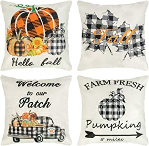 Ouddy Fall Pillow Cover 18 x 18 Set of 4, Pumpkin Truck Leaves Farmhouse Buffalo Plaid Throw Pillow Cushion Cases for Fall Thanksgiving Autumn Outdoor Decor